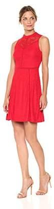 Bebe Women's Sleeveless Lace Aline Dress with Open Back
