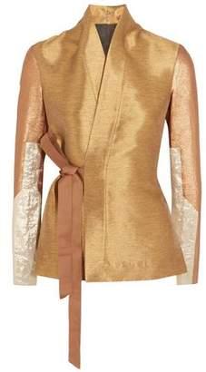 Rick Owens Lamé And Cotton Blend-Paneled Shantung Wrap Jacket