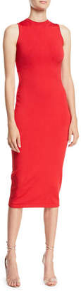 CUSHNIE Sleeveless Body-Con Midi Dress w/ Cutout Back