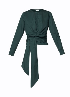 Paisie Button Front Blouse With Waist Tie Wrap In Green