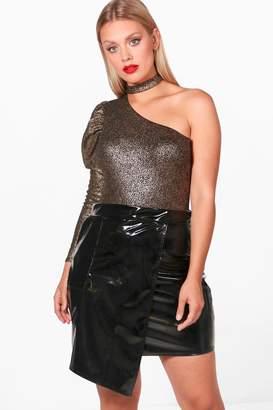boohoo Plus Jodie Metallic One Shoulder Bodysuit