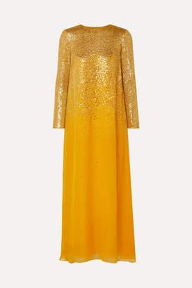 Oscar de la Renta Embellished Silk-chiffon Gown - Saffron