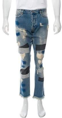 James Long Distress Patchwork Jeans