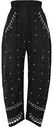 Isabel Marant Eloma Embellished Cotton-canvas Tapered Pants - Black