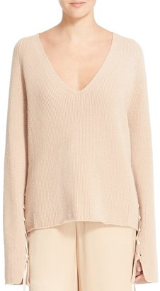 Women's Helmut Lang Lace-Up Sleeve Wool & Cashmere Sweater $395 thestylecure.com