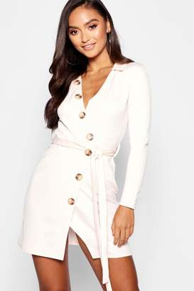 boohoo Petite Button Front Belted Shirt Dress