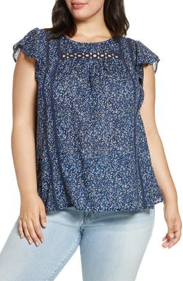 Lucky Brand Grace Flutter Top
