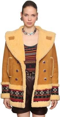 Etro Shearling Peacoat W/ Woven Wool Trim