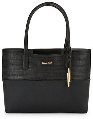 Calvin Klein Calvin Klein Colorblocked Tweed Satchel