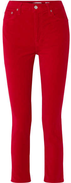 Cropped High-rise Stretch-velvet Skinny Pants - Red