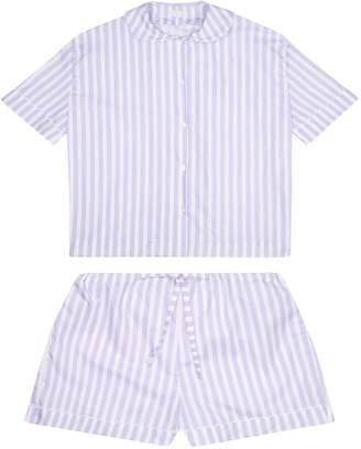 RAC Sarah Brown Cotton Poplin Lilac & White Stripe Pyjamas With White Ric Trim