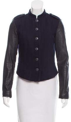 Closed Leather-Accented Wool-Blend Jacket