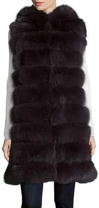 La Fiorentina Women's Hooded Fox Fur Vest
