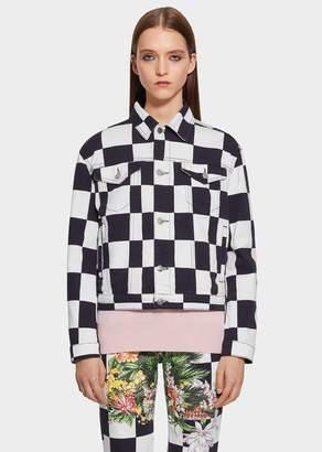 Versace Floral Checkerboard Print Denim Jacket