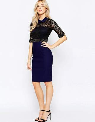 Vesper Collared Lace Top Pencil Dress With 3/4 Sleeve $109 thestylecure.com