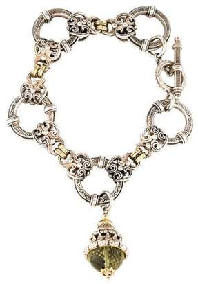 Konstantino Two-Tone Prasiolite Charm Bracelet