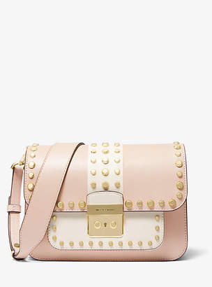 2238dda06a03 Michael Kors Sloan Editor Studded Two-Tone Leather Shoulder Bag