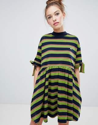 Lazy Oaf bow sleeve stripy dress