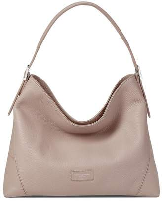Aspinal of London Small A Hobo In Soft Taupe Pebble