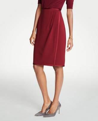 Ann Taylor Curvy Satin Trim Wrap Pencil Skirt
