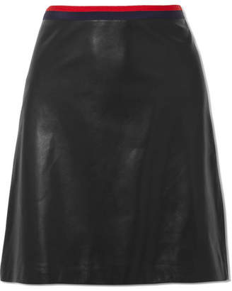 Gucci Grosgrain-trimmed Leather Mini Skirt - Black