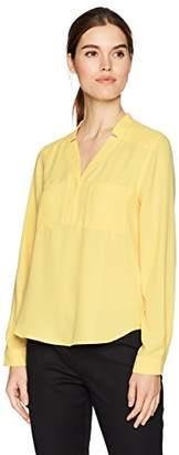 Nine West Women's Long Sleeve V-Neck 2 Pocket BLSE