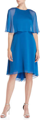 Halston Bow Back Capelet Midi Dress
