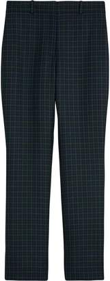 Burberry Straight Fit Check Wool Blend Tailored Trousers