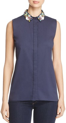 Elie Tahari Carla Embellished Collar Blouse - 100% Exclusive $228 thestylecure.com