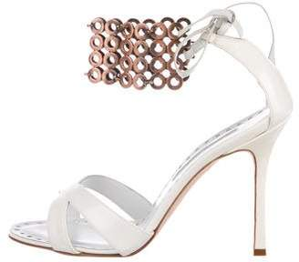 Manolo Blahnik Patent Leather Brass -Accented Sandals