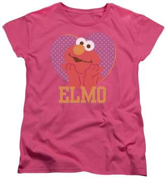Sesame Street Patterned Elmo Heart Womens Short Sleeve Shirt