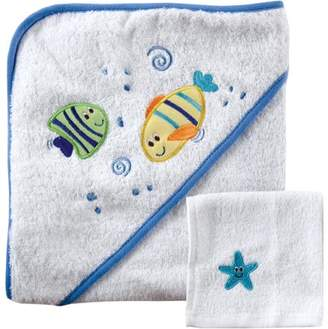 Luvable Friends Baby Woven Hooded Towel with Washcloth, Blue