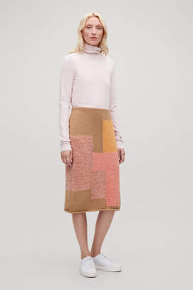 Cos PATCHWORK WOOL PENCIL SKIRT