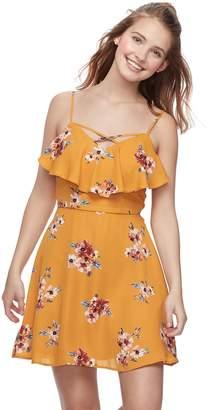 Trixxi Juniors' Ruffled Floral Skater Dress