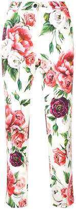 Dolce & Gabbana Peony and Rose print trousers
