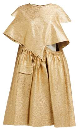 Maison Margiela Cut Out Cotton Blend Brocade Midi Dress - Womens - Gold