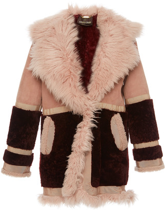Roberto Cavalli Ribbon Trim Shearling Coat