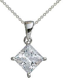 Diamonique 2.00 ct Princess Cut Pendant,Platinum Clad