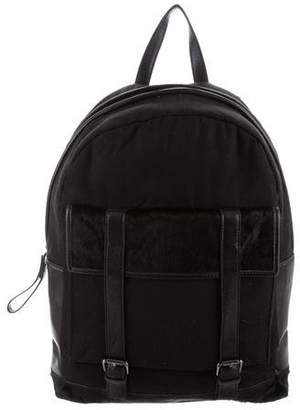 Timo Weiland Ponyhair-Trimmed Canvas Backpack