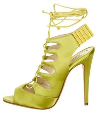 Brian Atwood Satin Lace-Up Sandals w/ Tags Chartreuse Satin Lace-Up Sandals w/ Tags
