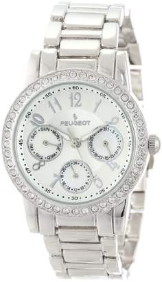 Peugeot Women's 2937SL -Tone Round Multi-Function Swarovski Crystal Accent Bracelet Watch