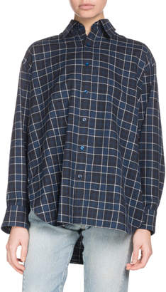 Balenciaga Gathered-Back Button-Front Plaid Cotton Shirt