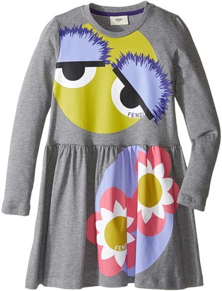 Fendi Kids - Long Sleeve Fit and Flare Dress w/ Monster Eye Graphic Girl's Dress $220 thestylecure.com