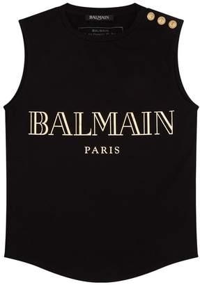 Balmain Logo Sleeveless T-shirt