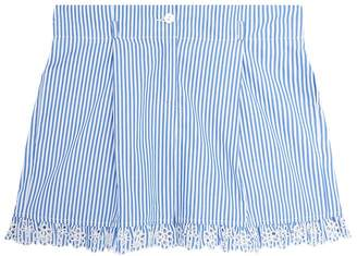 Ermanno Scervino Pinstripe Lace Embroidered Shorts