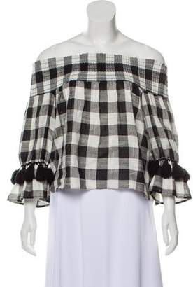 MISA Los Angeles Ruffled Tassel-Accented Blouse