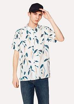 Paul Smith Men's Classic-Fit White Linen-Blend 'Sapling' Print Short-Sleeve Shirt