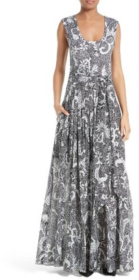 Women's Diane Von Furstenberg Cotton & Silk Maxi Dress $498 thestylecure.com