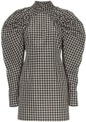 Rotate gingham check puff sleeve dress