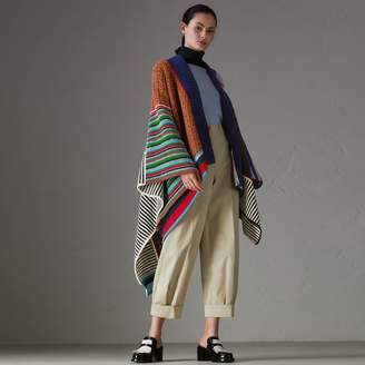 Burberry Wool Cashmere Blend Patchwork Poncho
